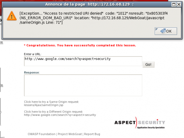 OWASP WebGoat:Same Origin Policy Protection - aldeid
